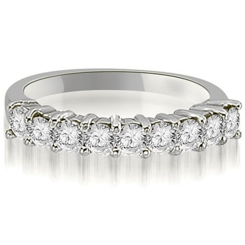 1.30 cttw. 14K White Gold Round Diamond 9-Stone Prong Wedding Band