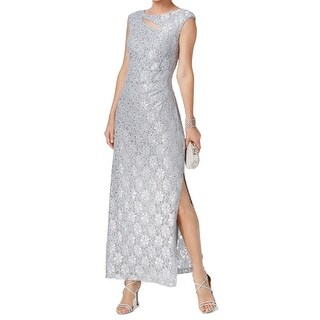 Connected Apparel NEW Silver Womens 16 Cutout Sequin Lace Gown Dress
