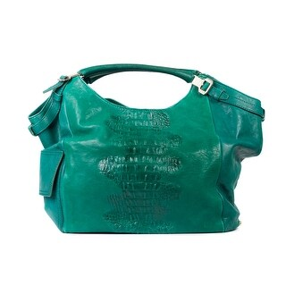 Roberto Cavalli Green Leather Snake Textured Shoulder Bags