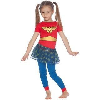 DC Comics Wonder Woman Superhero Logo Halloween Costume Cotton Tutu Pajama Set
