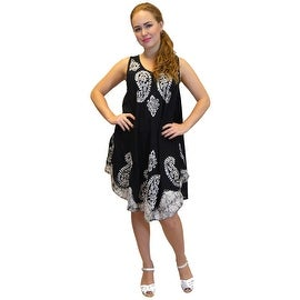 Cotton Blend Paisley Summer Dress Sundress Beach Fun, One Size Fits Most, Black