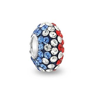 Bling Jewelry 925 Sterling Silver Red Blue Patriotic Crystal Bead Charm