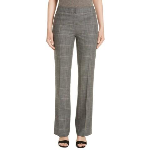 Lafayette 148 Gray Women's Size 8 Antico Glen Plaid Dress Pants