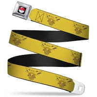 Pok Ball Full Color Black Zapdos Flying Pose4 Yellow Webbing Seatbelt Belt Seatbelt Belt
