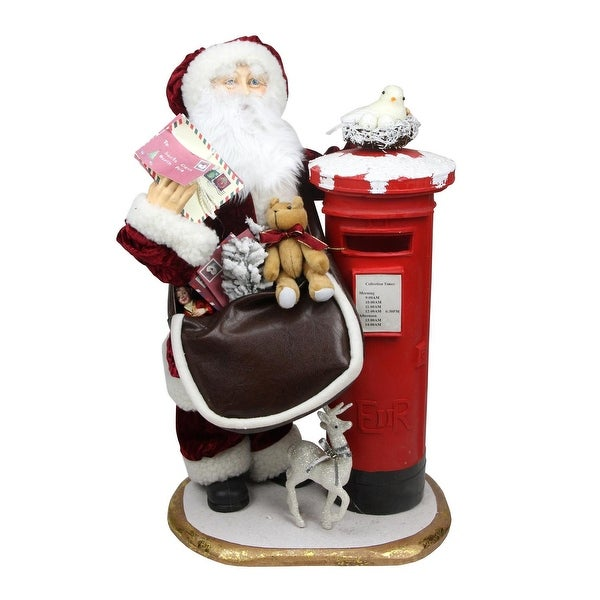"24"" Decorative Santa Claus with Satchel and Mailbox Christmas Decoration - RED"