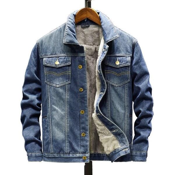 Korean Style Men's Plush Thick Denim Jacket. Opens flyout.