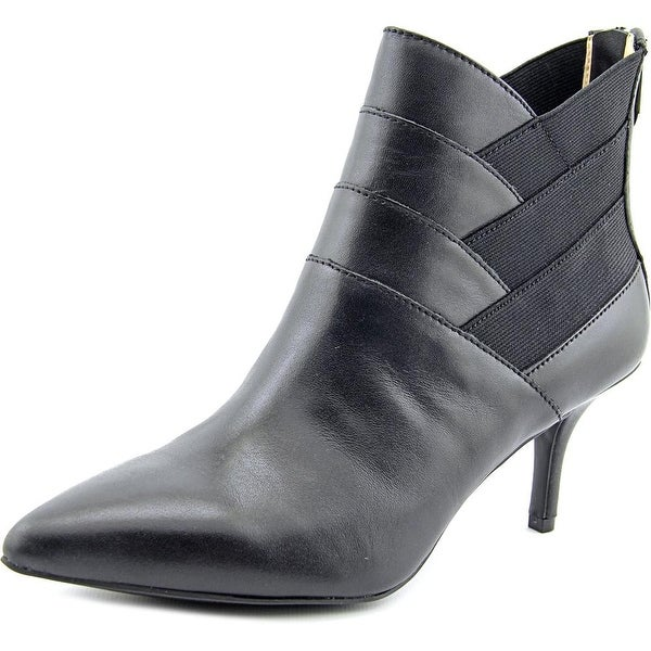 906f7cd73e48b Shop Adrienne Vittadini Sande Women Pointed Toe Leather Black Bootie ...