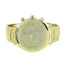 Mens Gold Finished Watch Fully Iced Out Simulated Diamonds Analog Display Stainless Steel Back On Sale