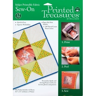 "Printed Treasures Sew-On Ink Jet Fabric Sheets 8.5""X11"" 12/P-White - White"