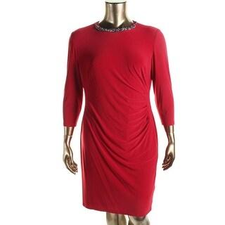 Lauren Ralph Lauren Womens Matte Jersey Embellished Wear to Work Dress