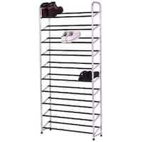 Costway 10-Tier 50 Pairs Shoe Rack Tower Storage Organizer chromed Steel Home Furniture