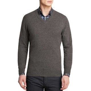 Bloomingdales Cashmere V-Neck Sweater Ash Grey Heather Small S