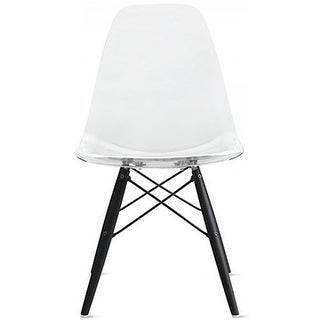 2xhome Clear - Eames Style Bedroom & Dining Room Side Ray Chair with Eiffel Dark Wood Dowel Legs
