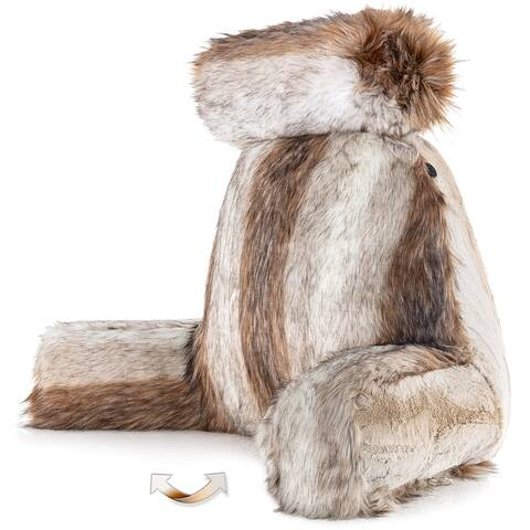 XXL Husband Pillow - Ultra Rare Baby Fabulous Faux Fur Backrest, Two-tone Reversible Double Sided Reading & Bed Rest Pillow
