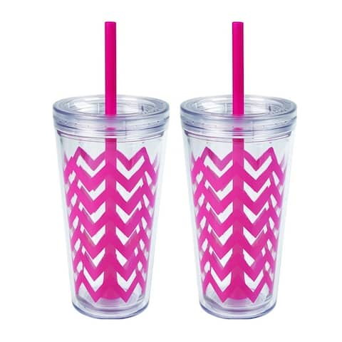 2 Pack Copco Minimus Tumbler With Removable Straw Double Wall Insulation - BPA Free Plastic 24 Oz - Magenta Pink - Magenta Pink