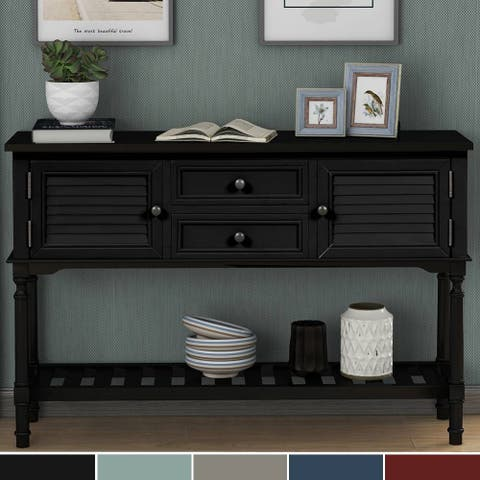 Modern Console Table Sofa Table with 2 Drawers, 2 Cabinets and 1 Shelf