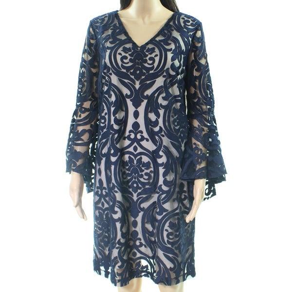 MSK Blue Beige Womens Size 6 V-Neck Lace Bell Sleeve Sheath Dress
