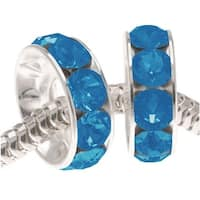 Swarovski Crystal,  BeCharmed Rondelle 4.5mm Large Hole Beads 12mm, 2 Pieces, Caribbean Blue Opal F