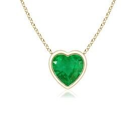 Bezel Set Solitaire Heart Shaped Emerald Pendant