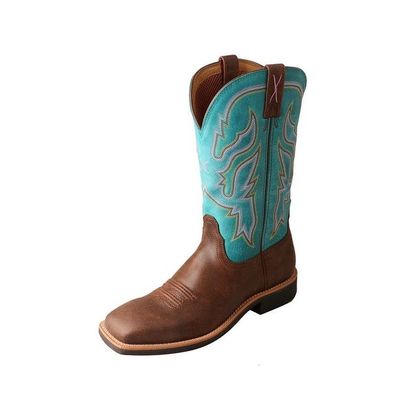 Twisted X Western Boots Womens Top Hand Pull Tabs Brown Turq
