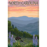 NC - Bear & Cubs with Spring Flowers - LP Artwork (Chef's Cotton/Poly Apron)
