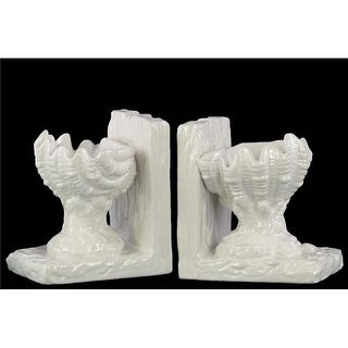 Open Valve Clam Seashell on Base Bookend, Assortment of 2 - Whit