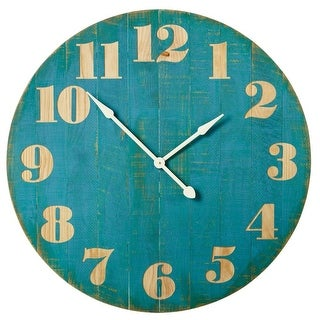 """38"""" Weathered Blue and Brown Antique Style Round Analog Wall Clock"""