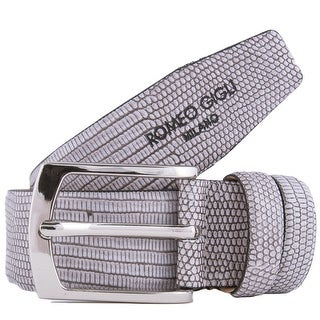Romeo Gigli Z194/35 STONE Grey Embossed Leather Adjustable Belt