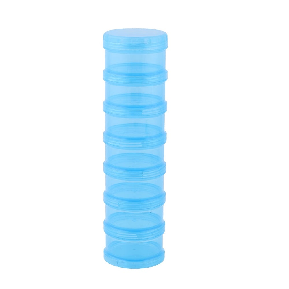 Family Cylindrical 7 Compartments Medicine Pill Organizer Dispenser Box Blue