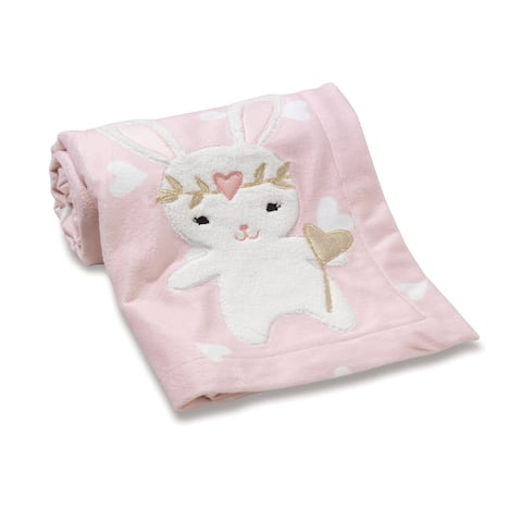 Lambs & Ivy Confetti Pink Bunny with Hearts Luxury Coral Fleece Baby Blanket