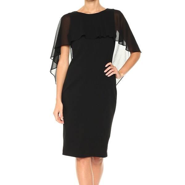 ce8ec759287c Shop Calvin Klein Deep Black Womens Size 4 Chiffon Cape Sheath Dress ...