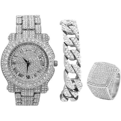 Blinged Out Round Luxury Mens Watch w/Blinged Out Bracelet and Iced King Ring Set - L0504 BR 3pc Set - N/A