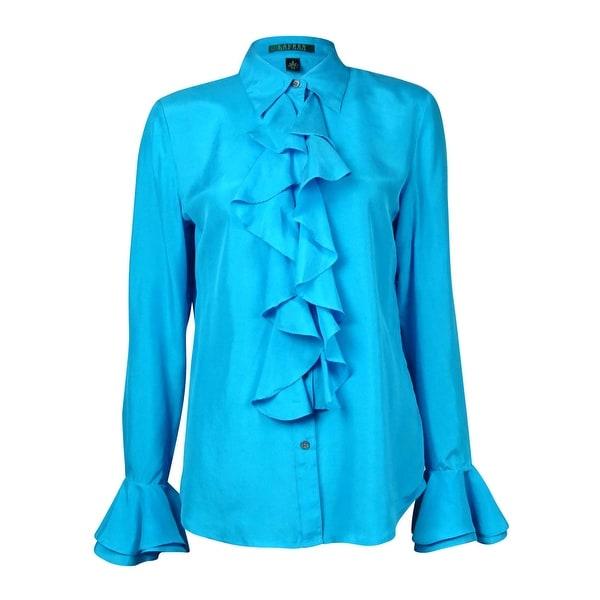 99f182a2 Shop Lauren Ralph Lauren Women's Ruffled Silk Button-Down Shirt - wave  turquoise - 4 - Free Shipping Today - Overstock - 15018994