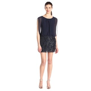 Aidan Mattox Diamond Pattern Beaded Blouson Cocktail Dress - 0