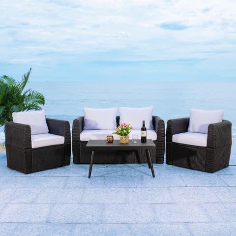 SAFAVIEH Outdoor Living Tarien Wicker 4-Piece Living Patio Set