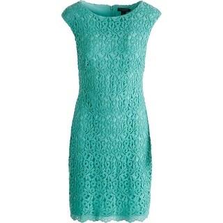 Lauren Ralph Lauren Womens Lace Cap Sleeve Wear to Work Dress