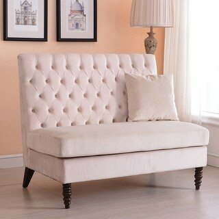 Belleze Modern Loveseat Bench Sofa Tufted Settee High-Back Love Seat Bedroom, Velvet (Beige)