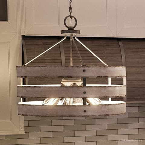 """Luxury Modern Farmhouse Pendant Light, 18.25""""H x 21.625""""W, with Rustic Style, Galvanized Steel Finish by Urban Ambiance"""