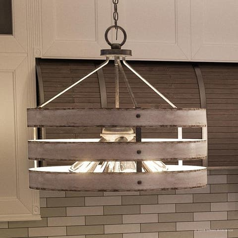 """Luxury Modern Farmhouse Pendant Light, 18.25""""H x 21.625""""W, with Rustic Style, Galvanized Steel Finish by Urban Ambiance - 21.5"""