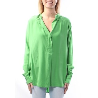 $185 RALPH LAUREN Green V Neck Cuffed Wear To Work Top S B+B