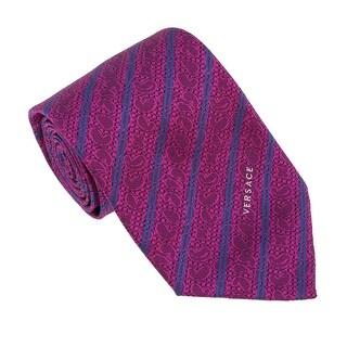 Versace Blue-Violet Woven Baroque Stripe Tie