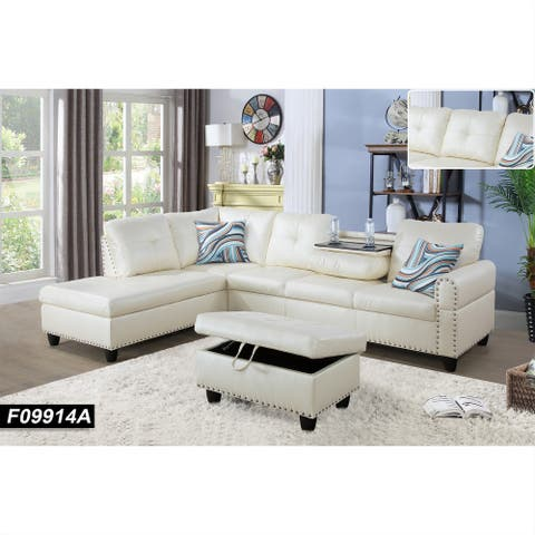 Sectional Sofa Set/w Drop Down Table,Left Facing,White Leather(9914A)