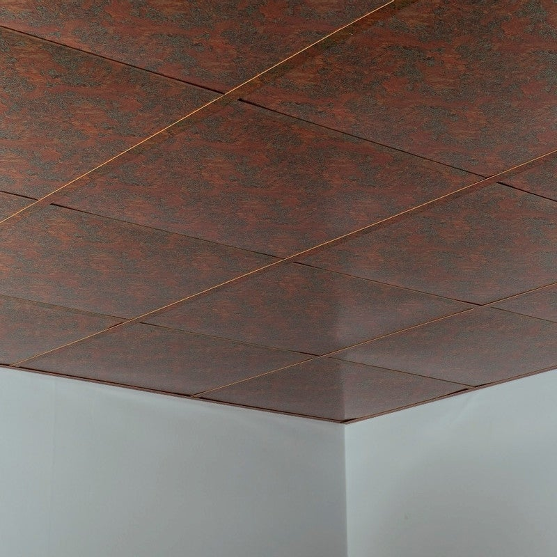 Fasade Flat Decorative Vinyl 2ft X 2ft Lay In Ceiling Tile In Copper Fantasy 5 Pack Overstock 32202180