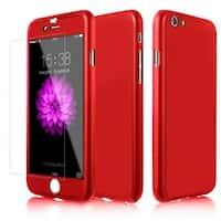 360° Case with Tempered Glass Screen Protector for iPhone 6 or 6s-Red