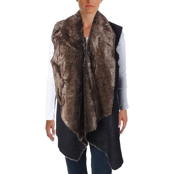 Aqua Womens Casual Vest Faux Fur Faux Suede