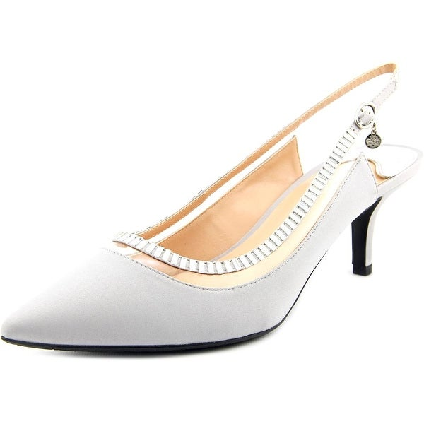 J. Renee Ellyn Women W Pointed Toe Canvas Silver Slingback Heel