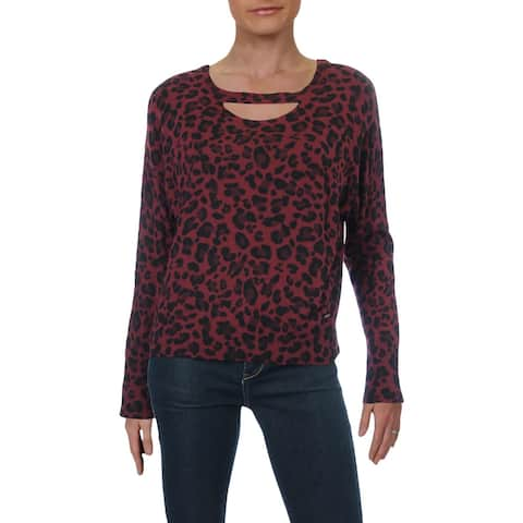 Bebe Womens Pullover Top Animal Print Cut-Out - Dornish Cat