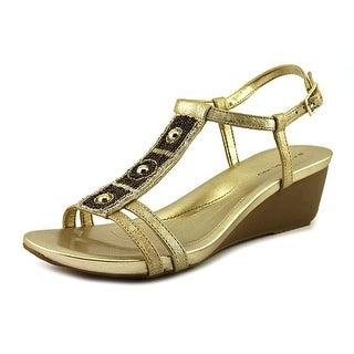 Bandolino Hettie Women Open Toe Synthetic Gold Wedge Sandal