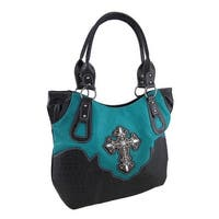 Rhinestone Filigree Cross Oversize Textured Vinyl Shoulder Bag