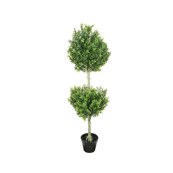 "44"" Potted Two-Tone Artificial Murraya Double Ball Topiary Tree"
